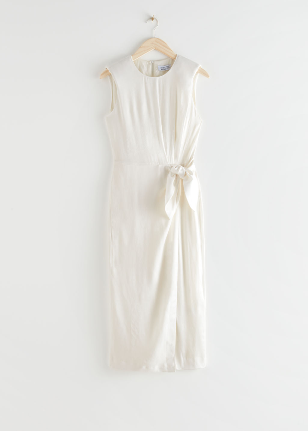 StillLife Front Image of Stories Satin Side Tie Midi Dress in White