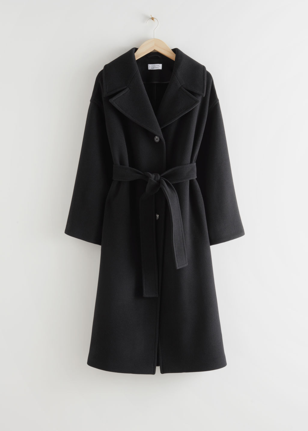 StillLife Front Image of Stories Oversized Wool Blend Belted Coat in Black