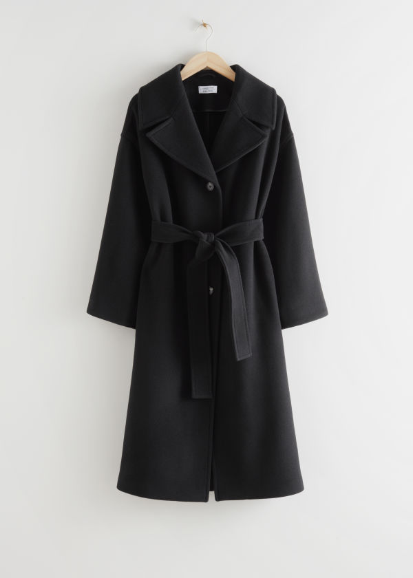 Oversized Belted Recycled Wool Coat