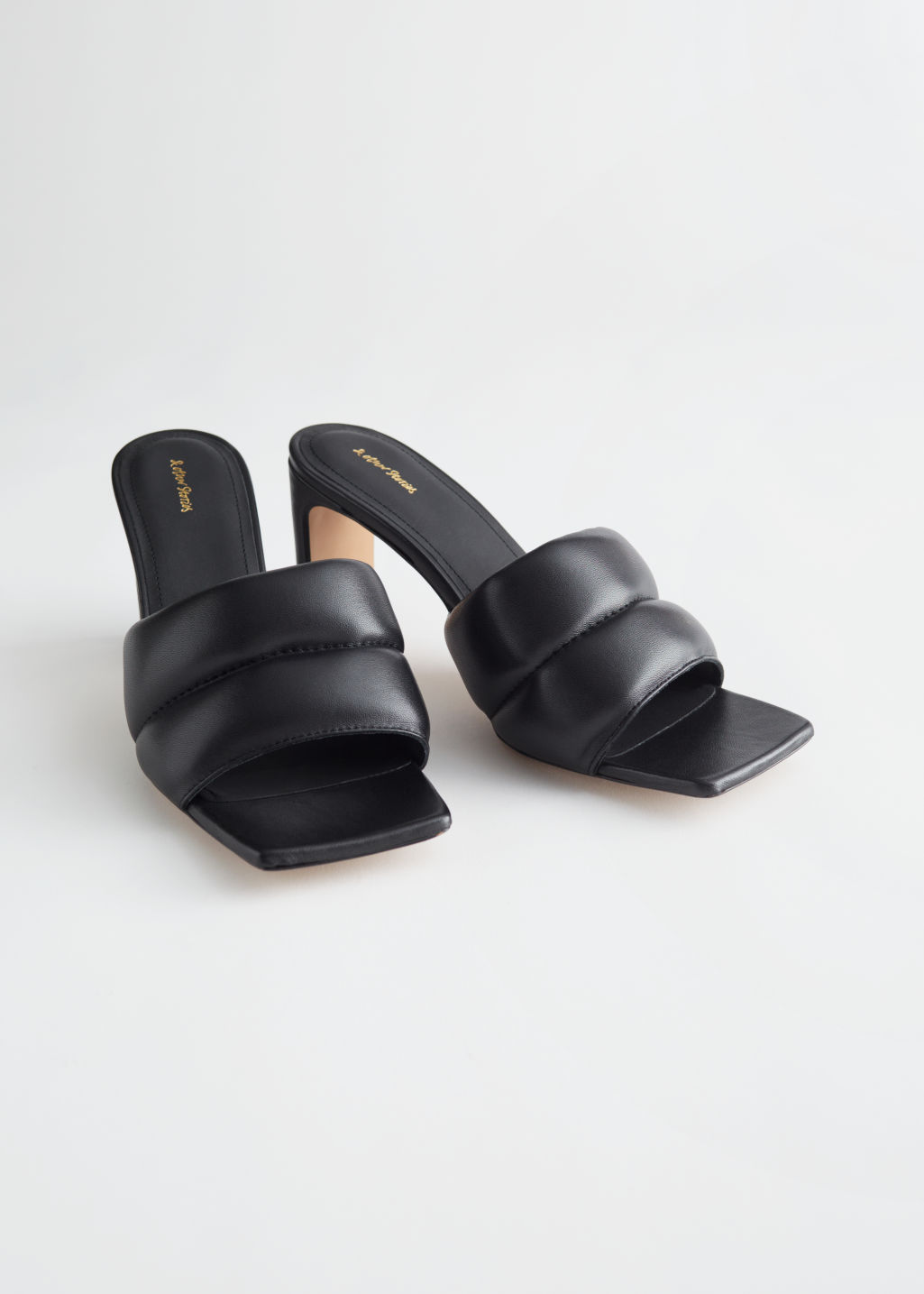 StillLife Front Image of Stories Padded Leather Heeled Sandals in Black