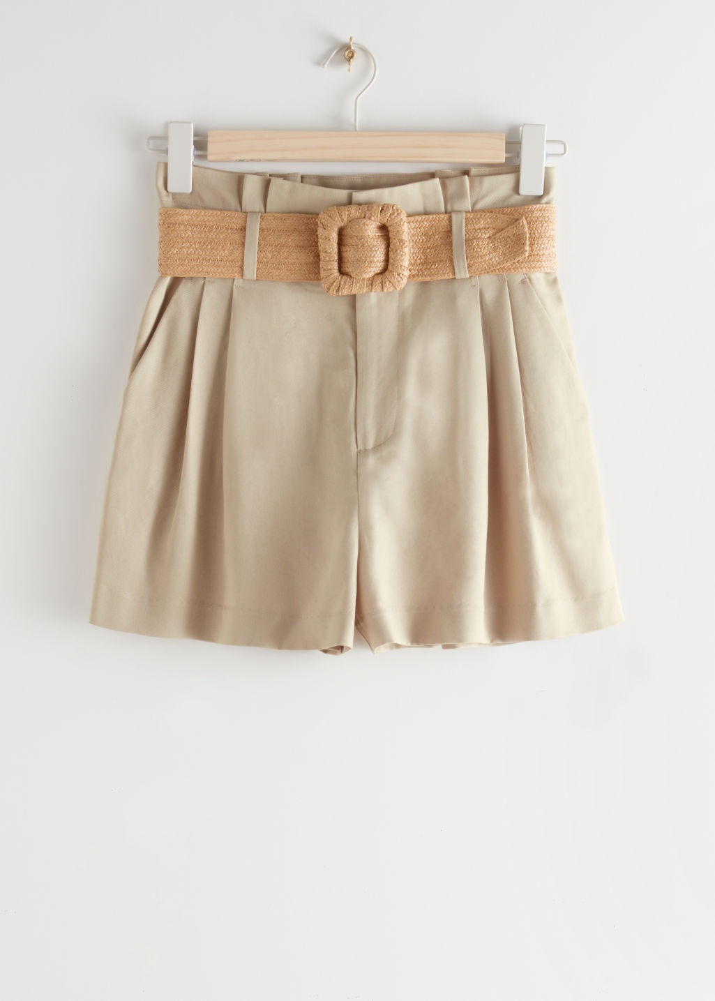 StillLife Front Image of Stories High Paperbag Waist Shorts in Beige