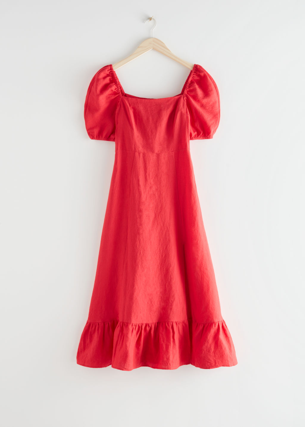 StillLife Front Image of Stories Linen Puff Sleeve Midi Dress in Red