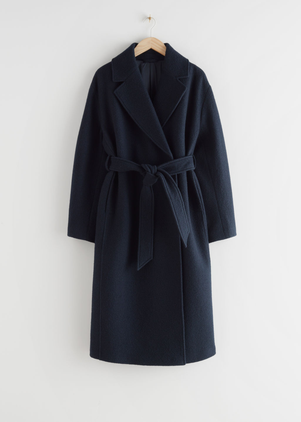 StillLife Front Image of Stories Belted Voluminous Wool Coat in Blue