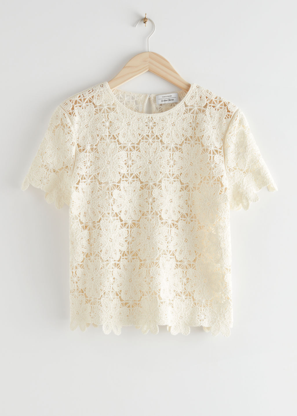 StillLife Front Image of Stories Crochet Lace Top in White