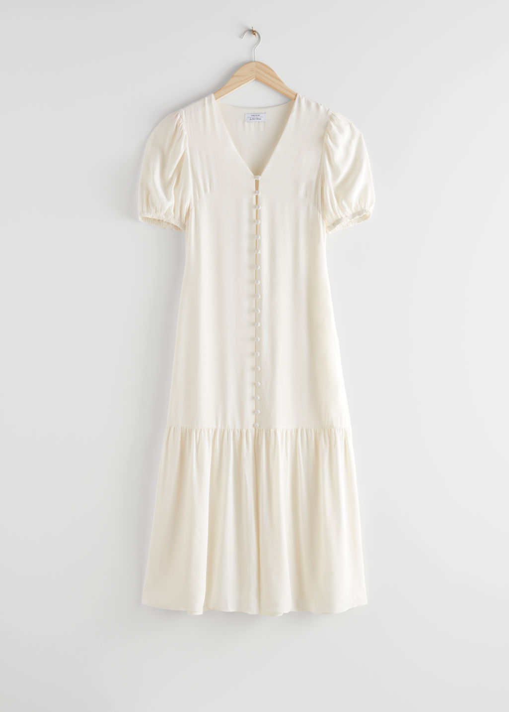 StillLife Front Image of Stories Button-Down Puff Sleeve Midi Dress in White