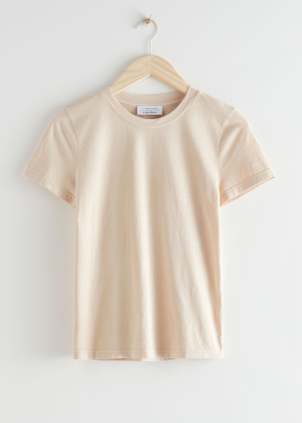 StillLife Front Image of Stories Fitted Organic Cotton T-Shirt in Beige