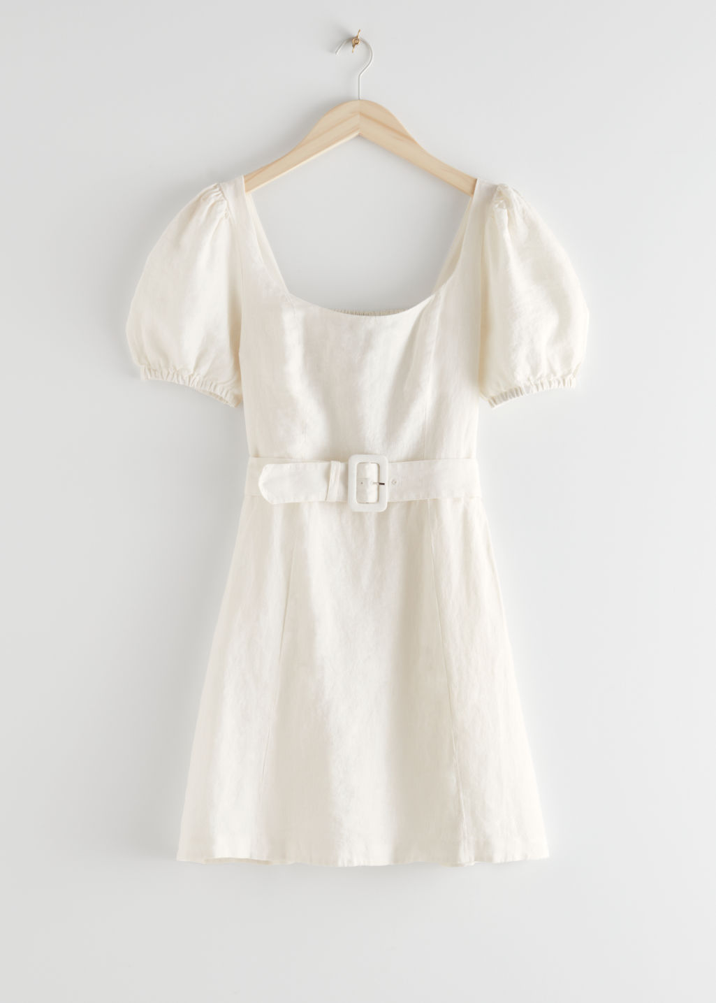 StillLife Front Image of Stories Linen Puff Sleeve Mini Dress in White