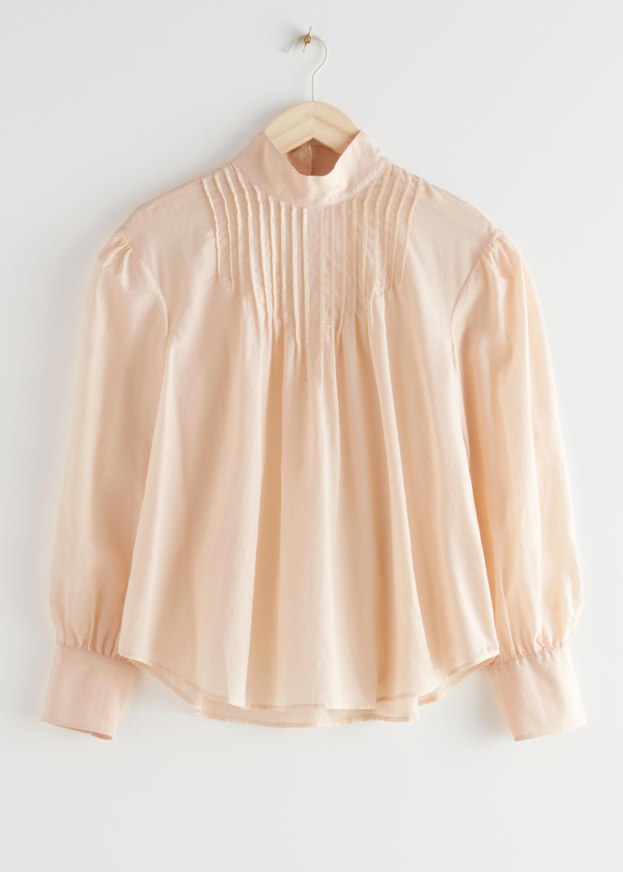 앤 아더 스토리즈 & OTHER STORIES Relaxed High Collar Silk Blend Blouse,Peach