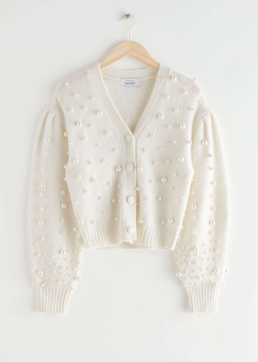 Pearl Embellished Alpaca Blend Cardigan & Other Stories