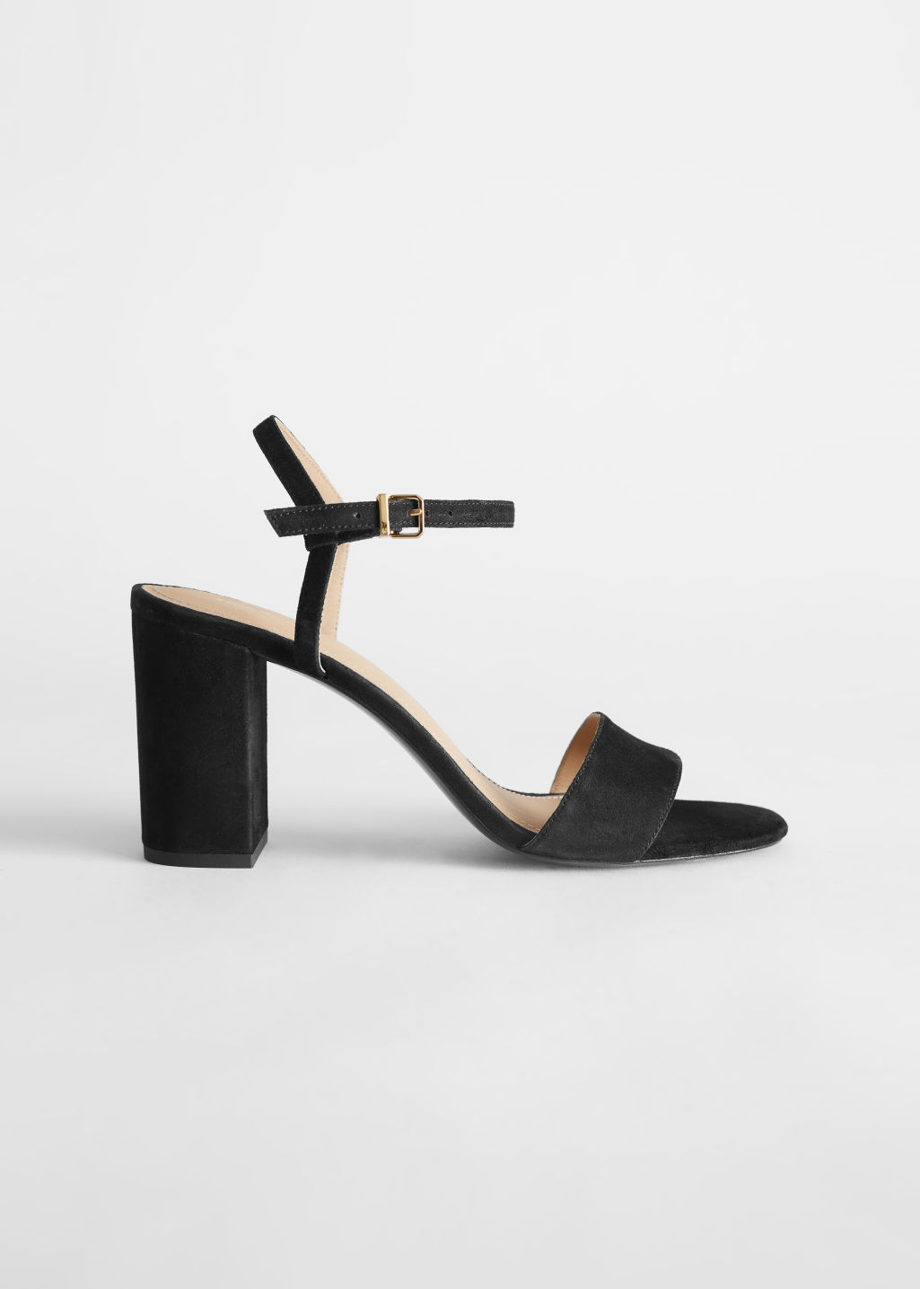 StillLife Left Image of Stories Strappy Block Heel Suede Sandals in Black