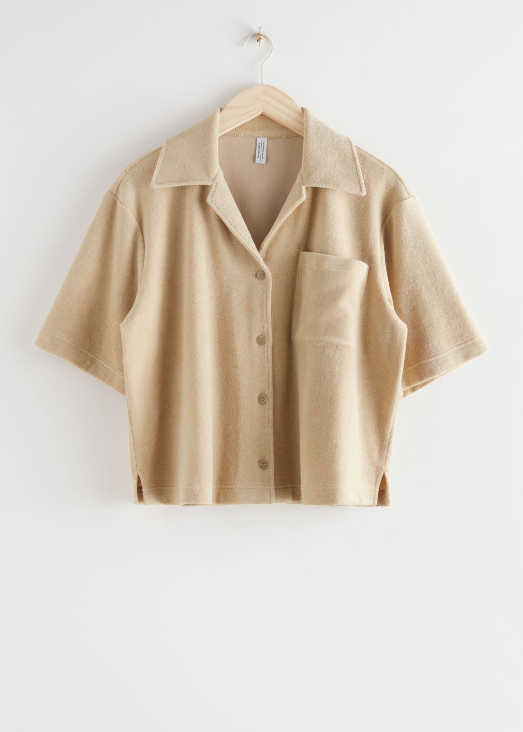 StillLife Front Image of Stories Boxy Bowling Shirt in Beige