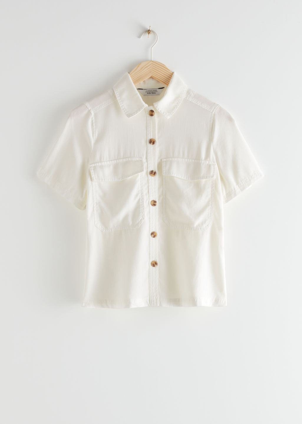 StillLife Front Image of Stories Relaxed Patch Pocket Shirt in White