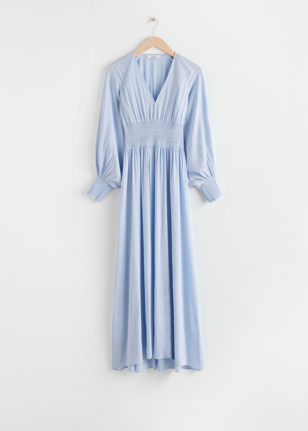 StillLife Front Image of Stories Smocked Waist Maxi Dress in Blue