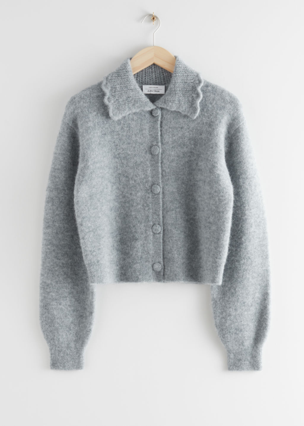 StillLife Front Image of Stories Statement Collar Knit Cardigan in Grey