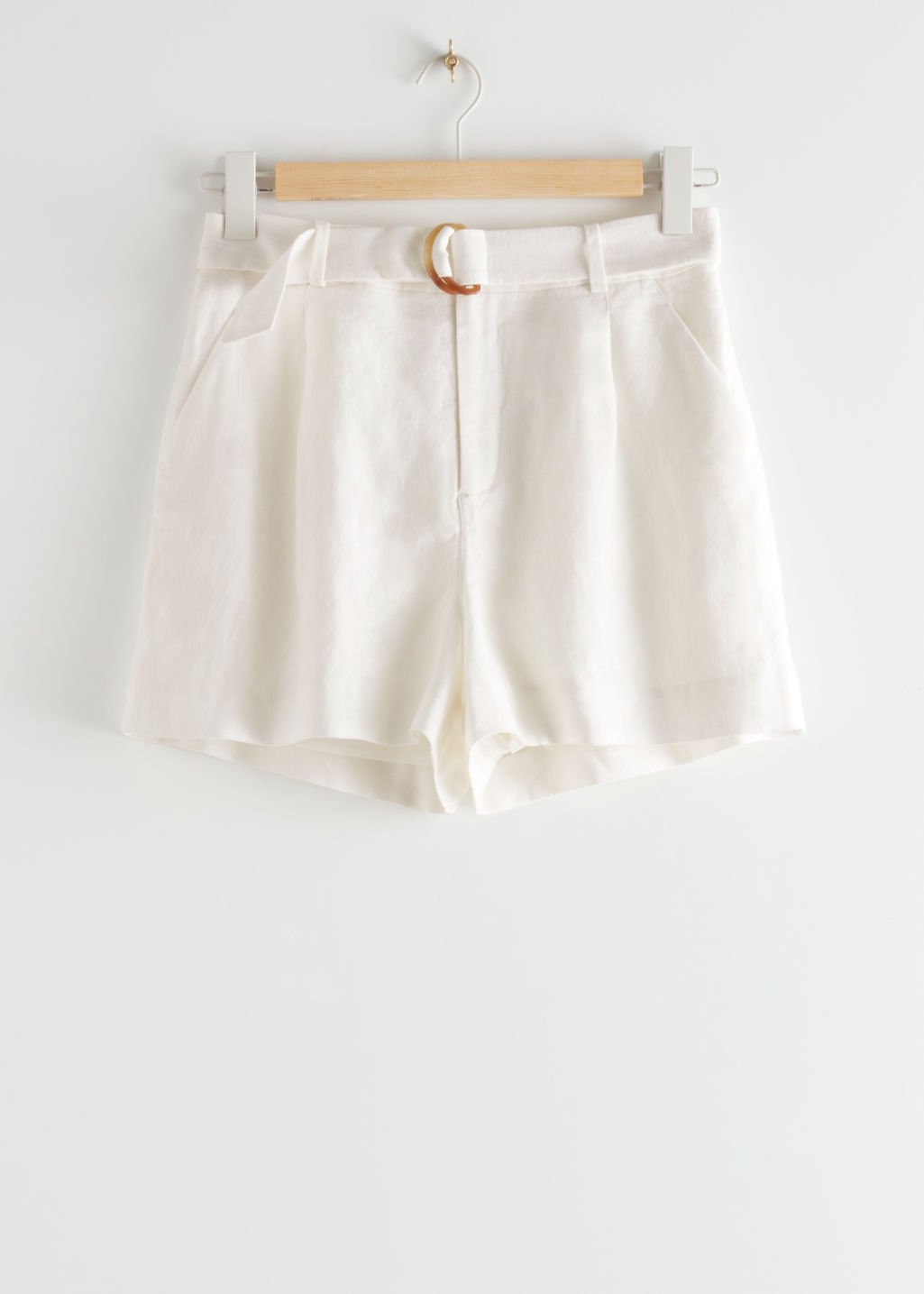 StillLife Front Image of Stories Belted Linen Pleat Shorts in White