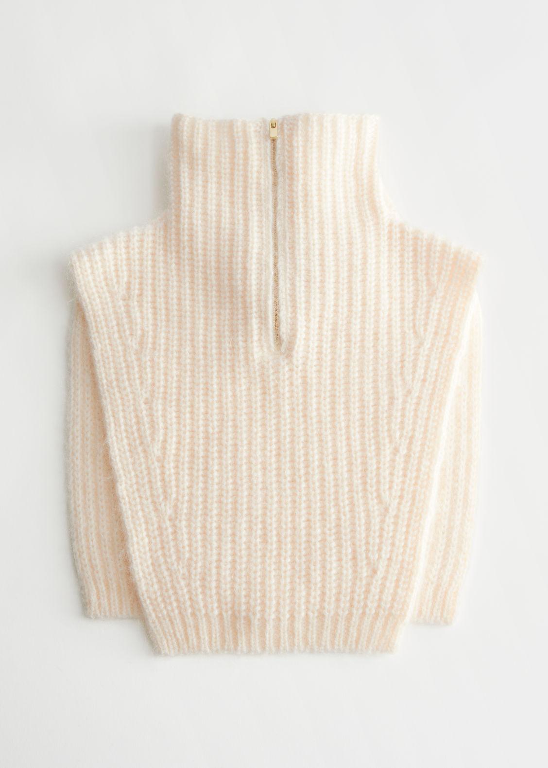 앤 아더 스토리즈 니트 카라 & OTHER STORIES Polo-Neck Knit Collar,White