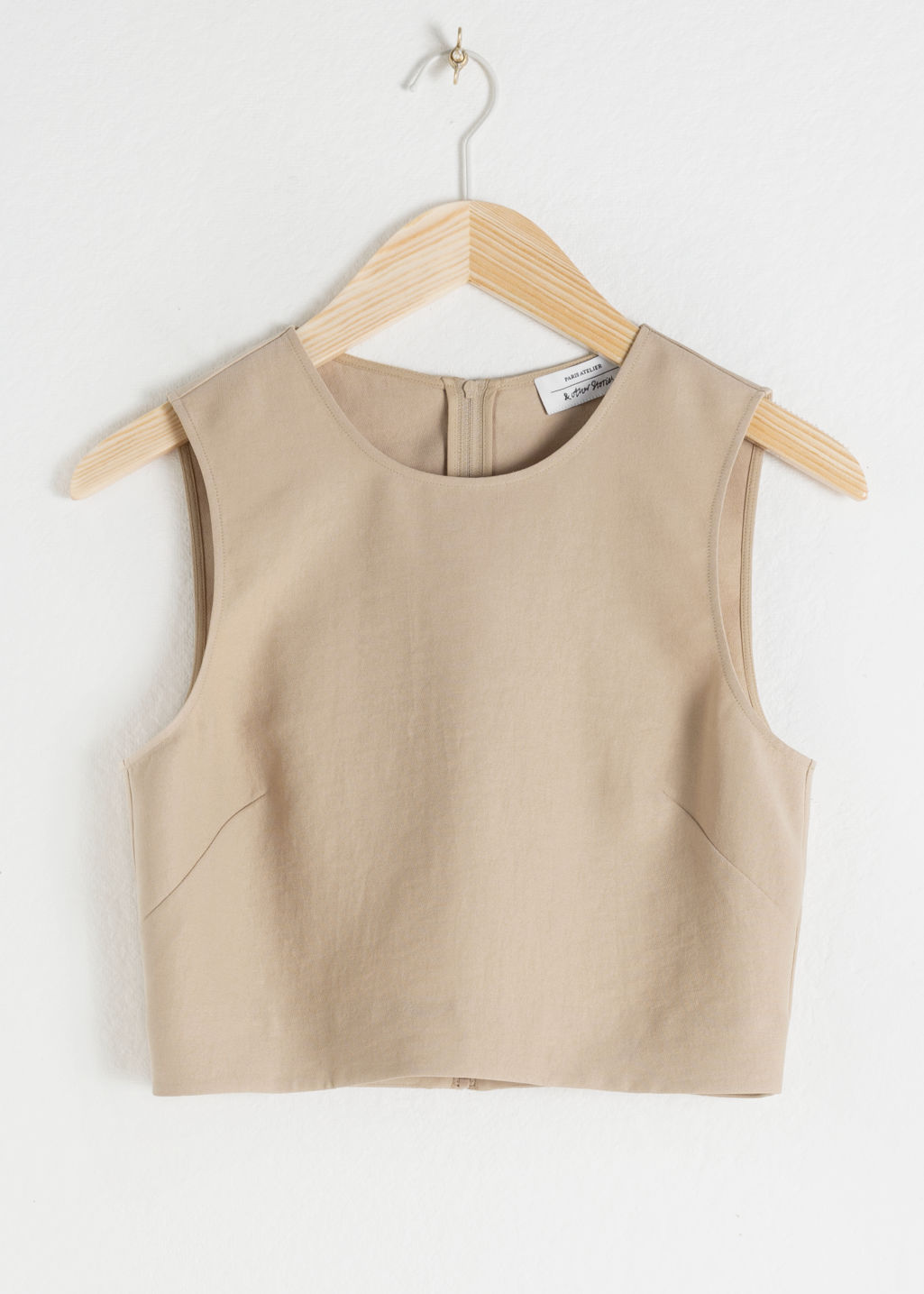 StillLife Front Image of Stories Cropped Lyocell Tank Top in Beige