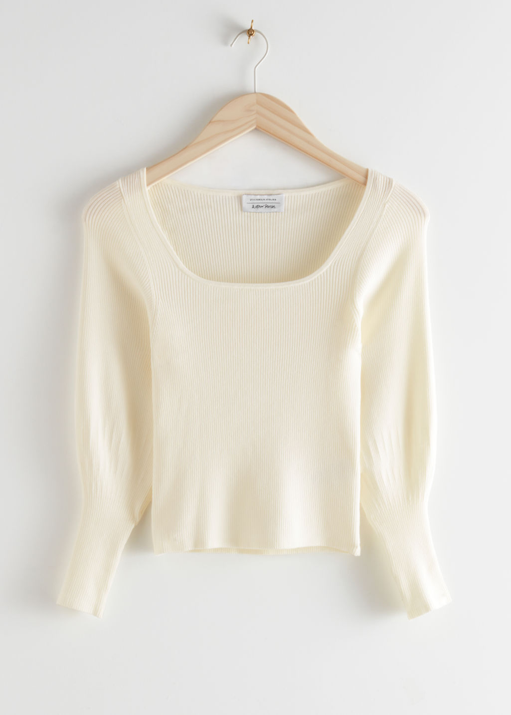 StillLife Front Image of Stories Fitted Rib Knit Top in White