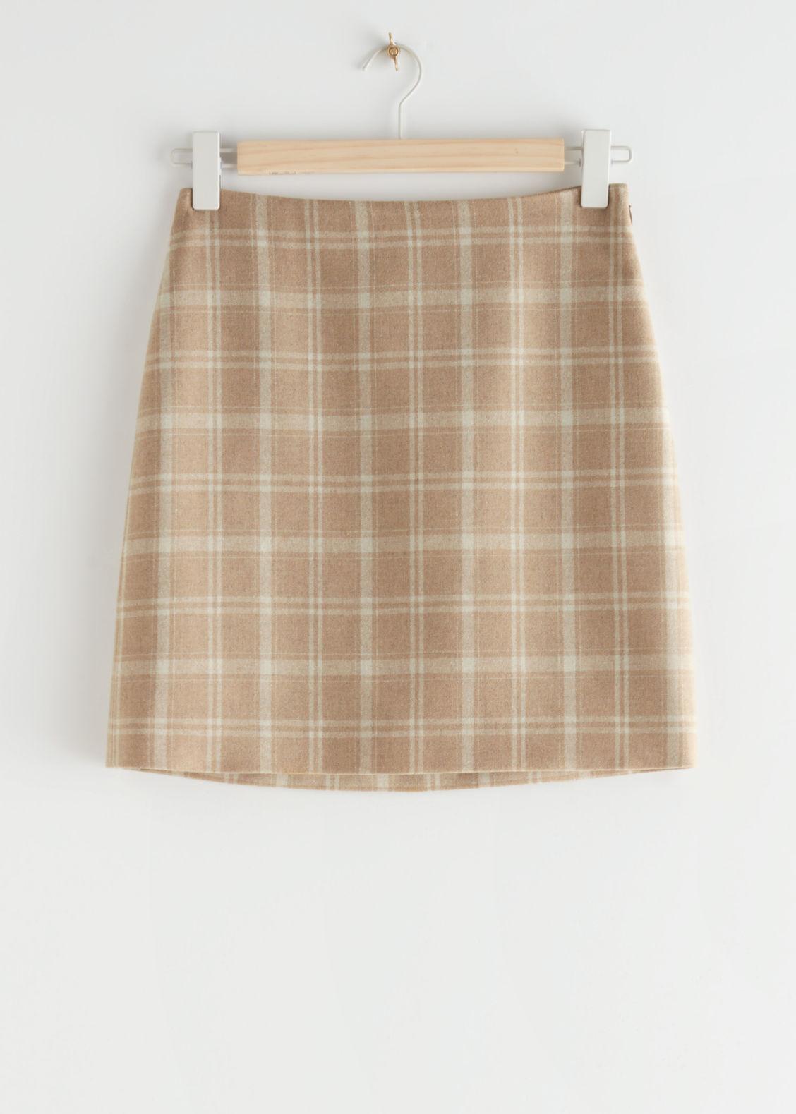 앤 아더 스토리즈 플레이드 미니 스커트 & OTHER STORIES Plaid Mini Skirt,Beige Checks
