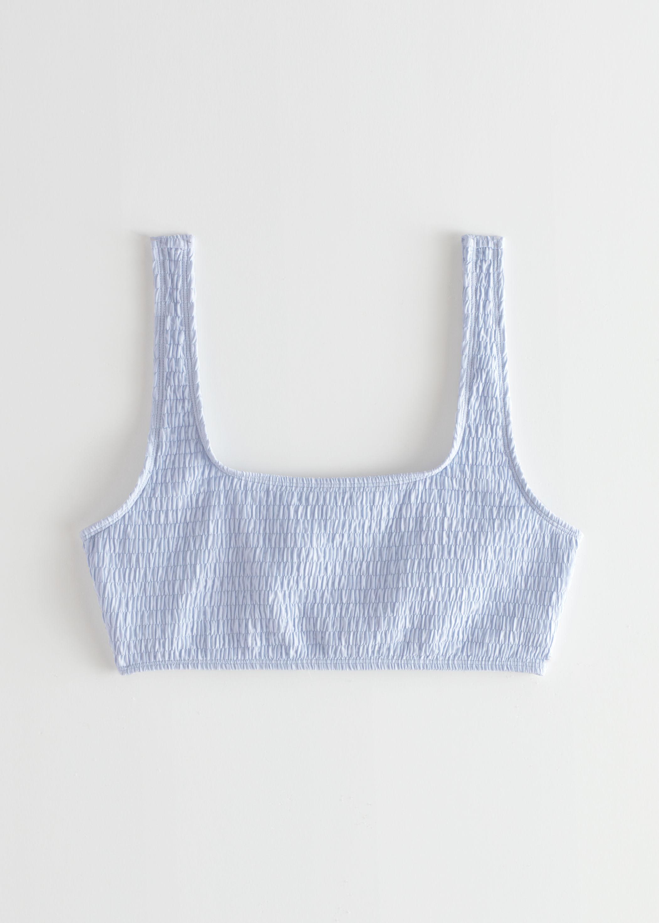 앤 아더 스토리즈 비키니 상의 & OTHER STORIES Ruched Square Neck Bikini Top,Light Blue