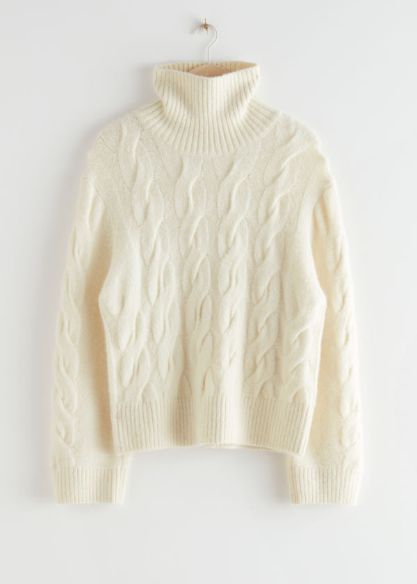 Oversized Alpaca Blend Turtleneck Knit Sweater