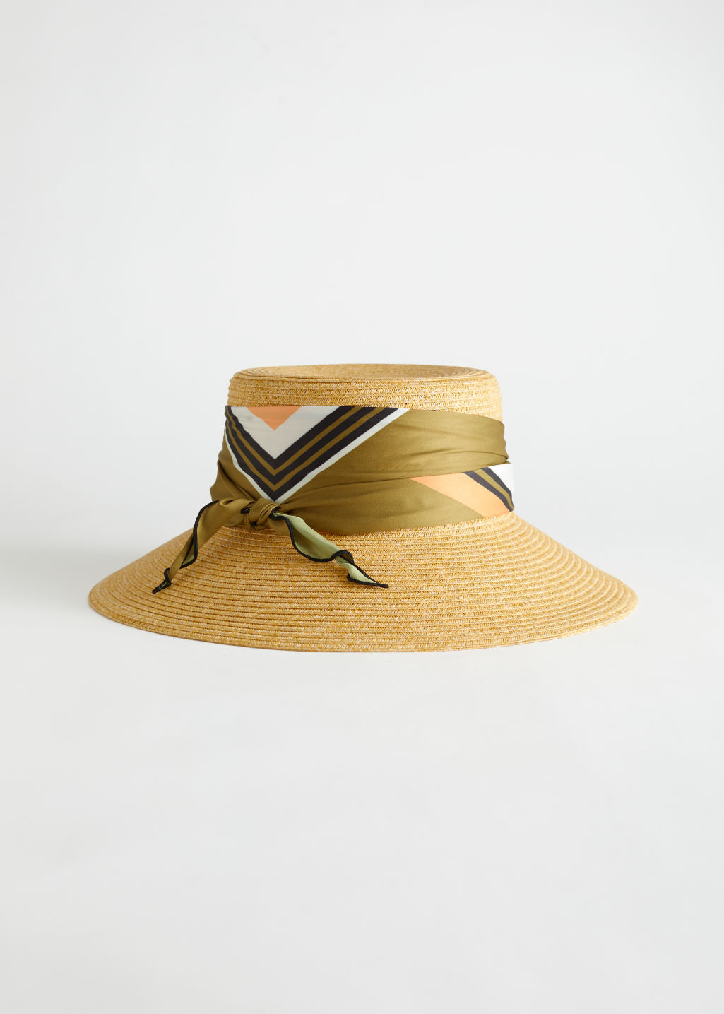 StillLife Front Image of Stories Scarf Straw Hat in Beige