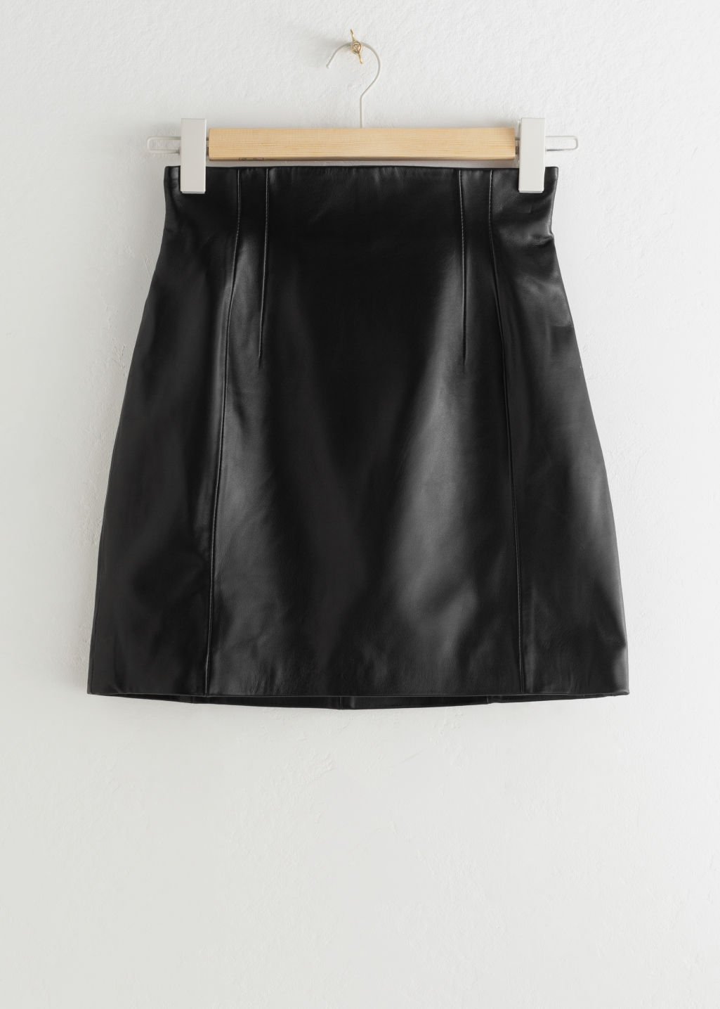 StillLife Front Image of Stories High Waisted Leather Skirt in Black