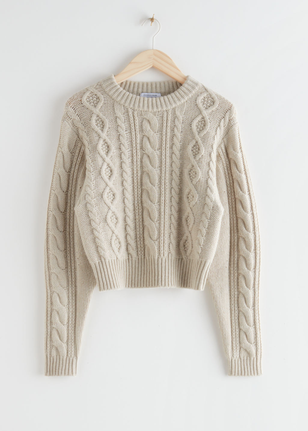 StillLife Front Image of Stories Short Fitted Cable Knit Jumper in Beige