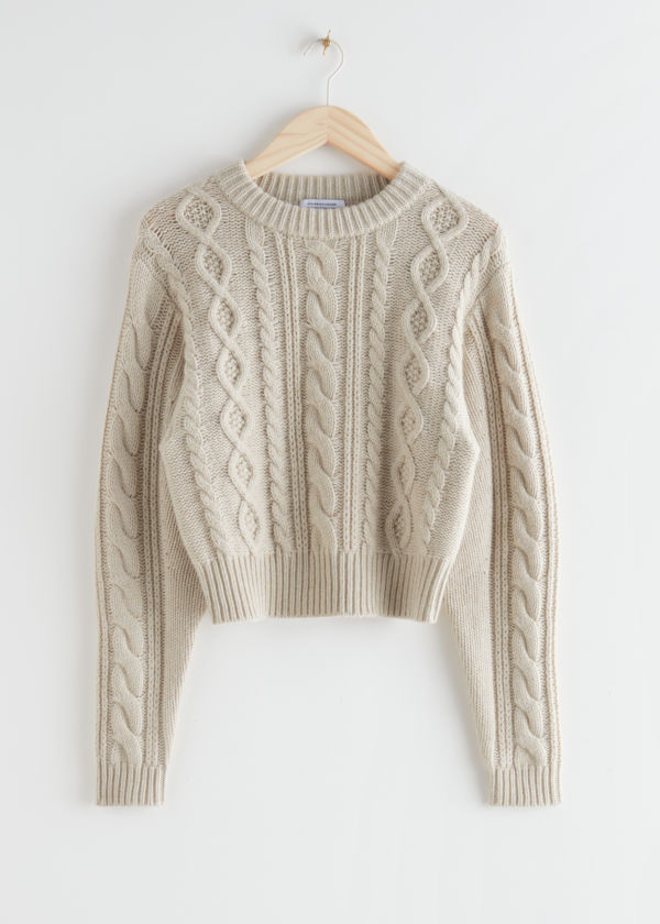 Short Fitted Cable Knit Jumper