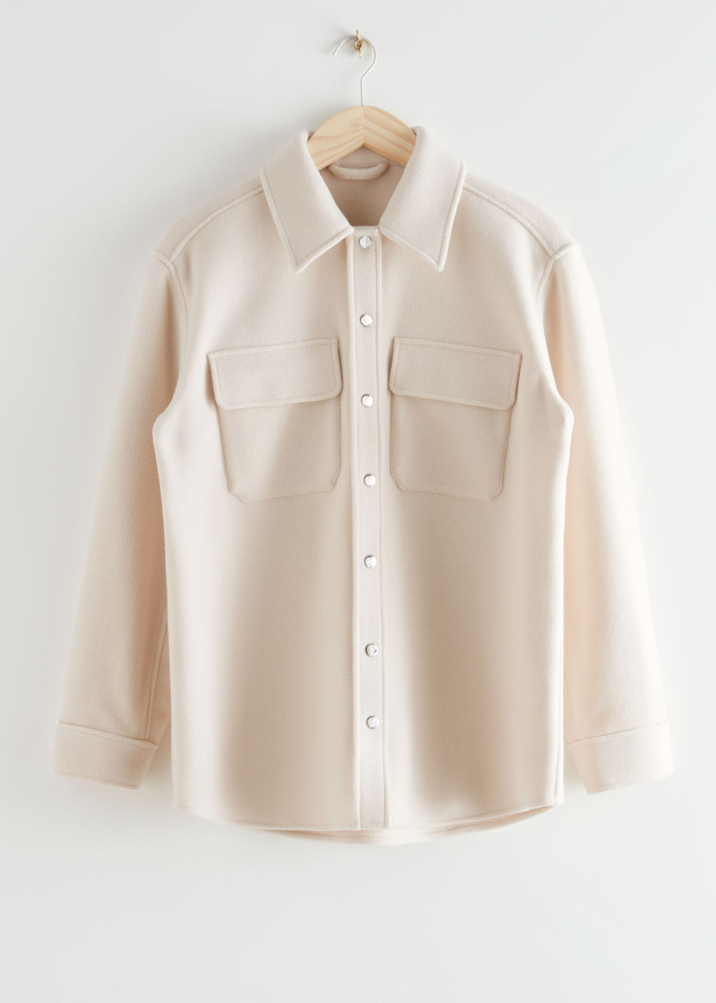 StillLife Front Image of Stories Oversized Wool Blend Workwear Shirt in Beige