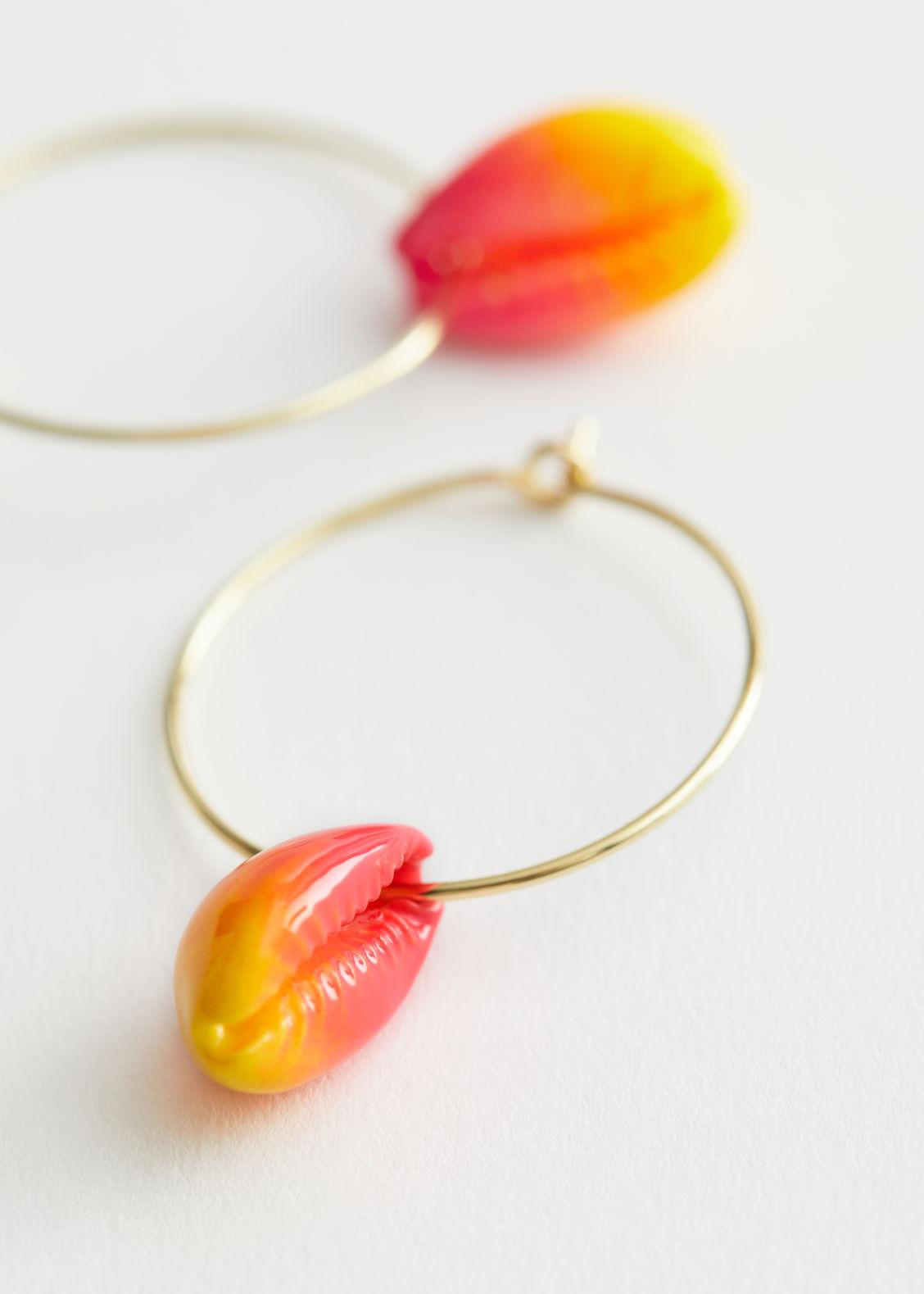 앤 아더 스토리즈 조개 귀걸이 & OTHER STORIES Colour Block Puka Shell Earrings,Pink, Orange