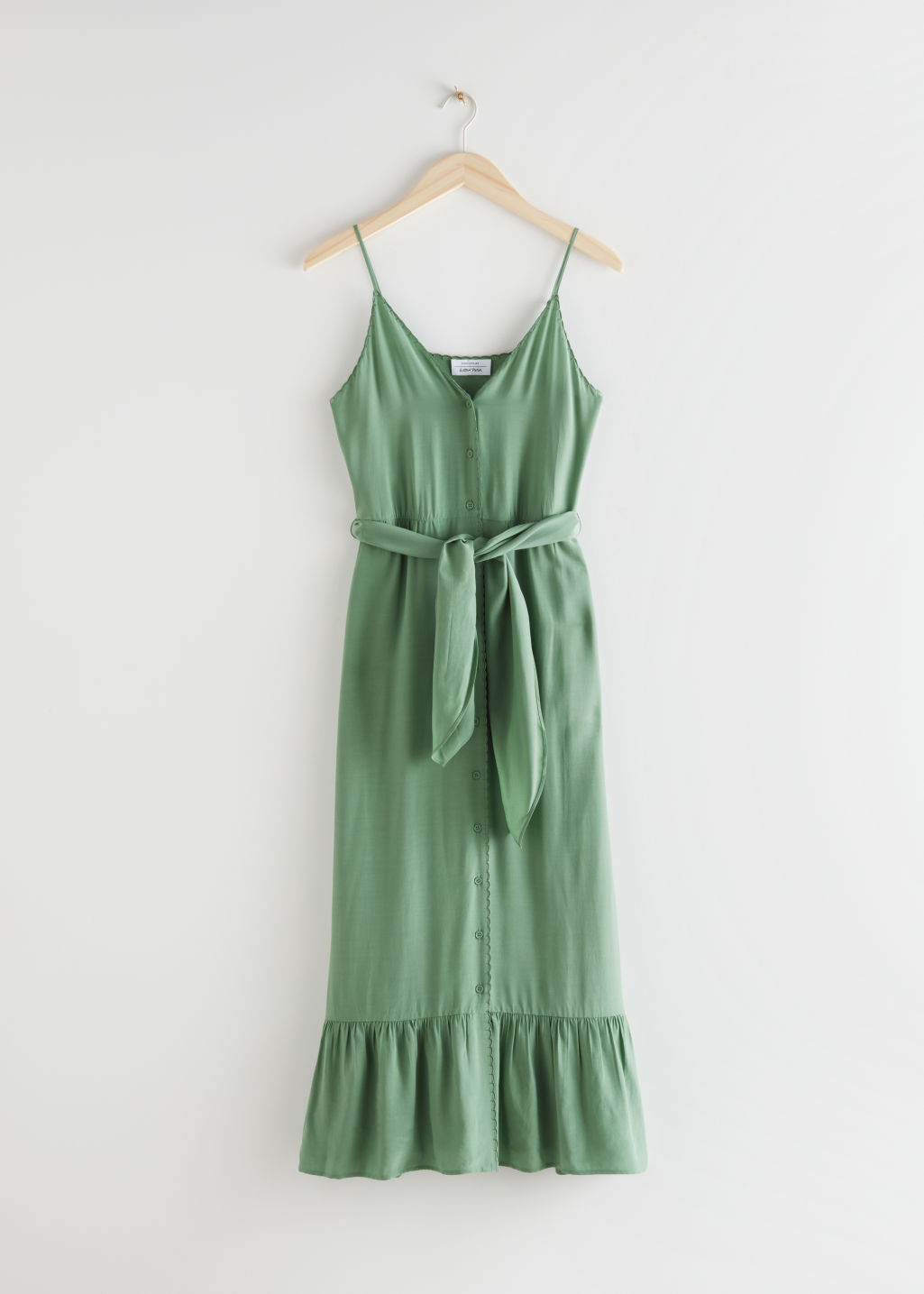 StillLife Front Image of Stories Belted Button Up Midi Dress in Green