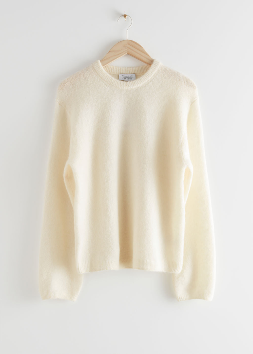 StillLife Front Image of Stories Fuzzy Wool Blend Sweater in White