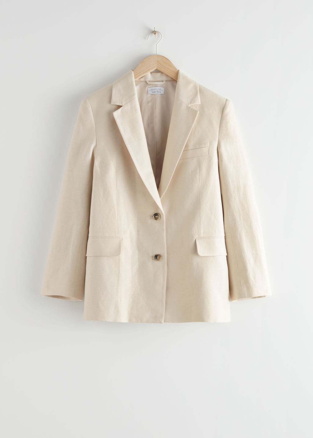 StillLife Front Image of Stories Boxy Linen Blend Blazer in Beige