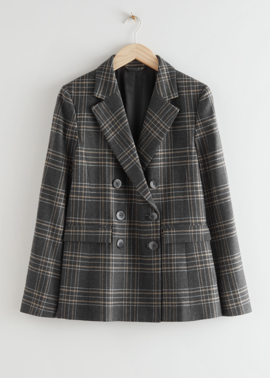 StillLife Front Image of Stories Wool Blend Plaid Blazer in Grey