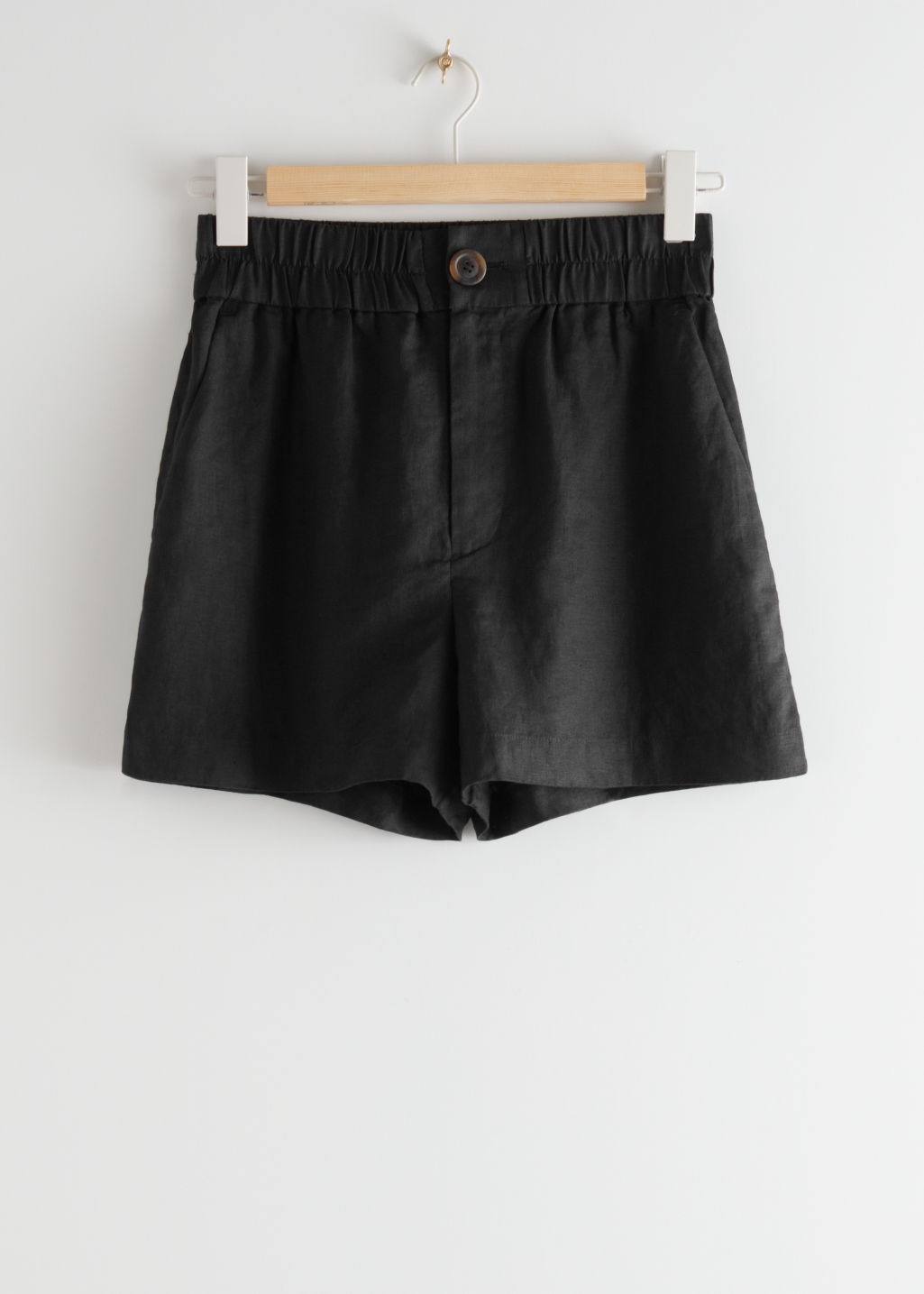 StillLife Front Image of Stories Relaxed Jacquard Shorts in Black