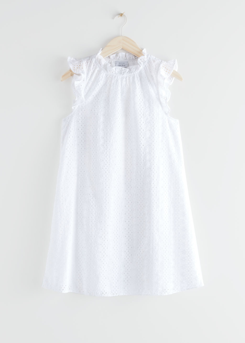 StillLife Front Image of Stories Frilled Broderie Anglaise Mini Dress in White