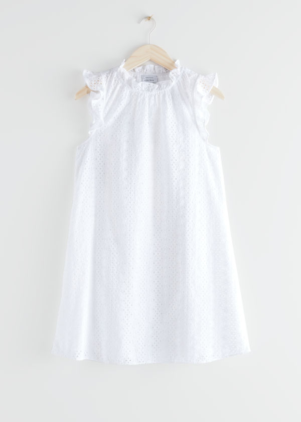 Frilled Broderie Anglaise Mini Dress