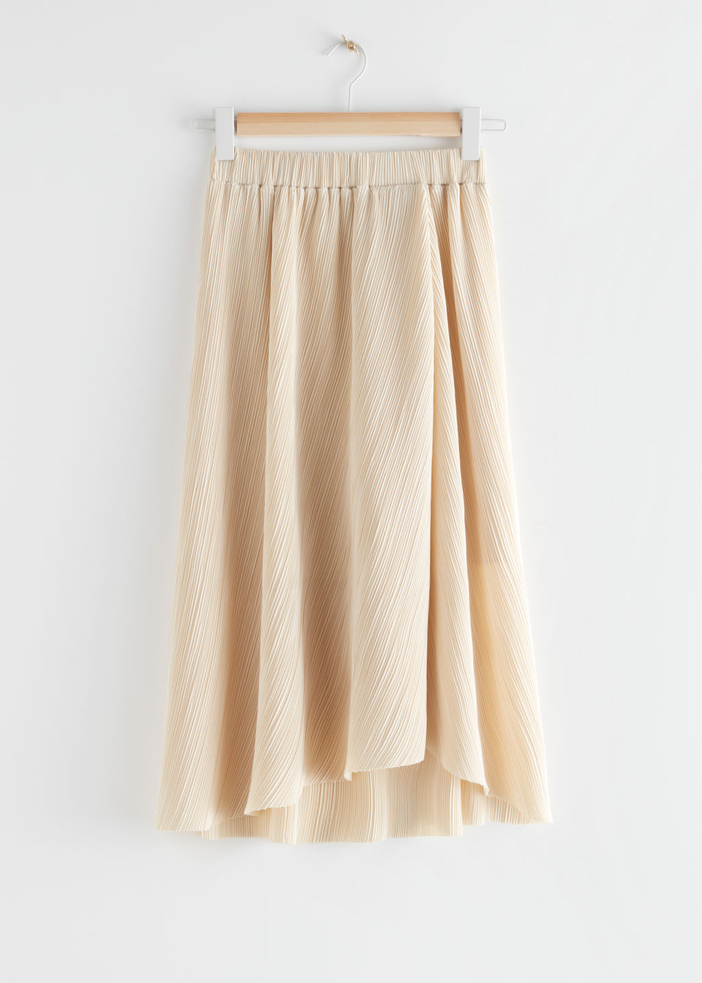 StillLife Front Image of Stories Diagonal Pleats Midi Skirt in Beige
