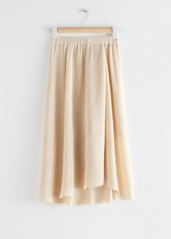 Diagonal Pleats Midi Skirt