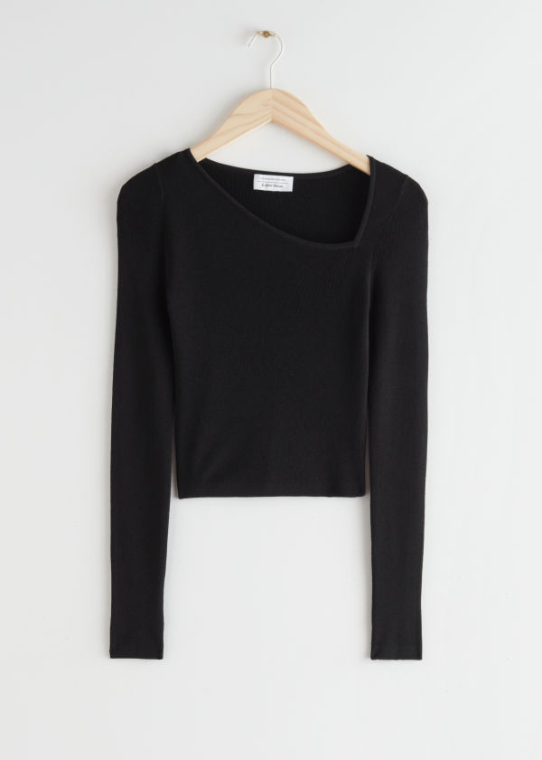 Fitted Cropped Asymmetric Sweater