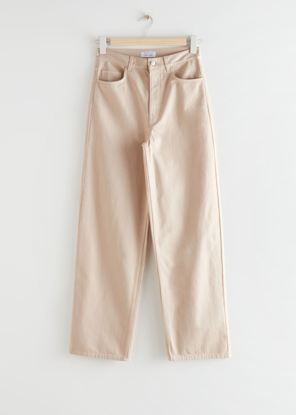 StillLife Front Image of Stories Wide High Rise Trousers in Beige
