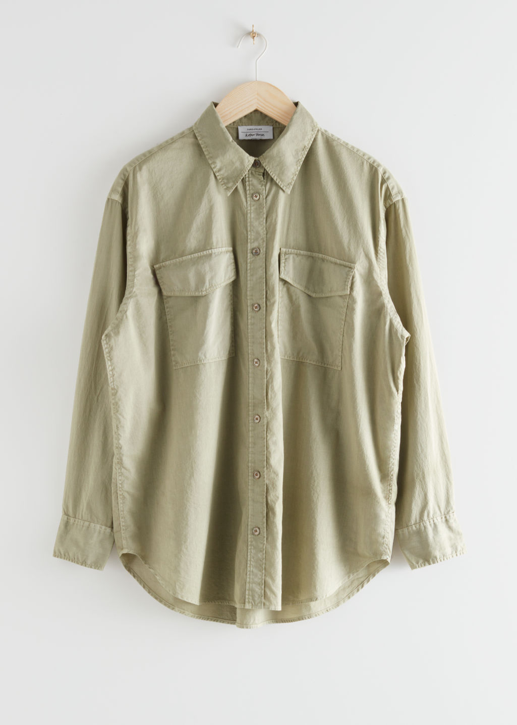 StillLife Front Image of Stories Oversized Button Up Shirt in Green