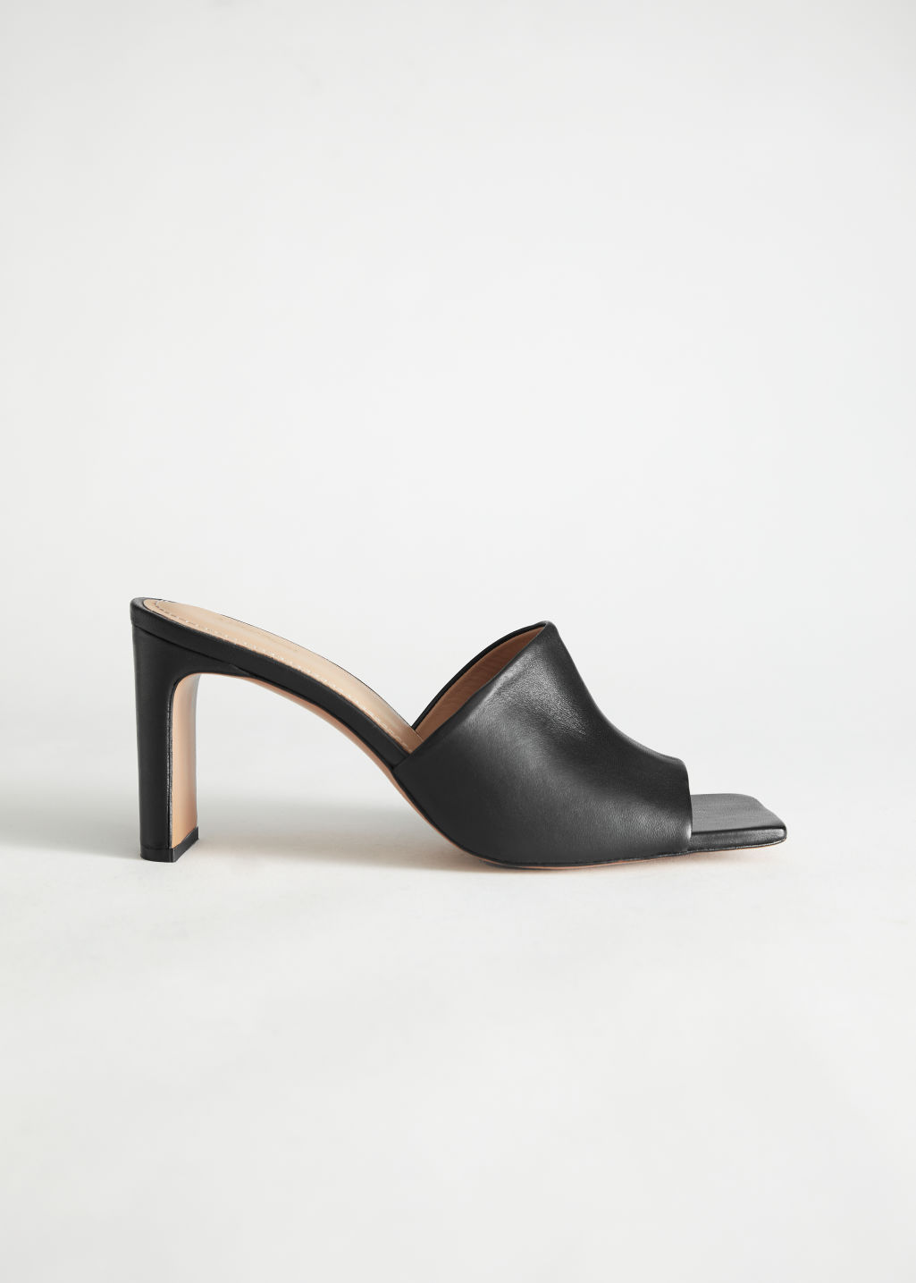 StillLife Left Image of Stories Heeled Leather Square Toe Sandals in Black