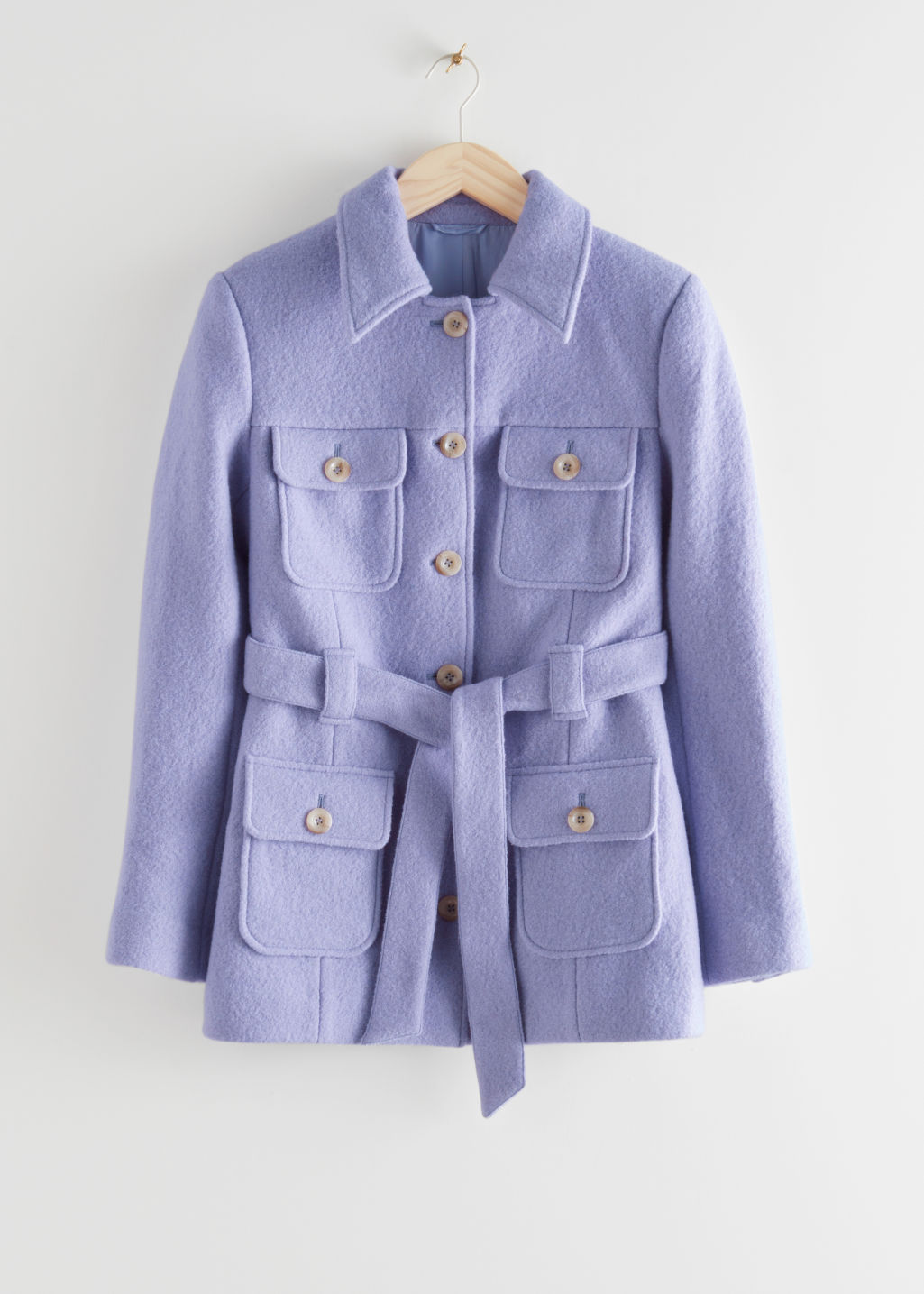 StillLife Front Image of Stories Belted Button Up Wool Jacket in Purple