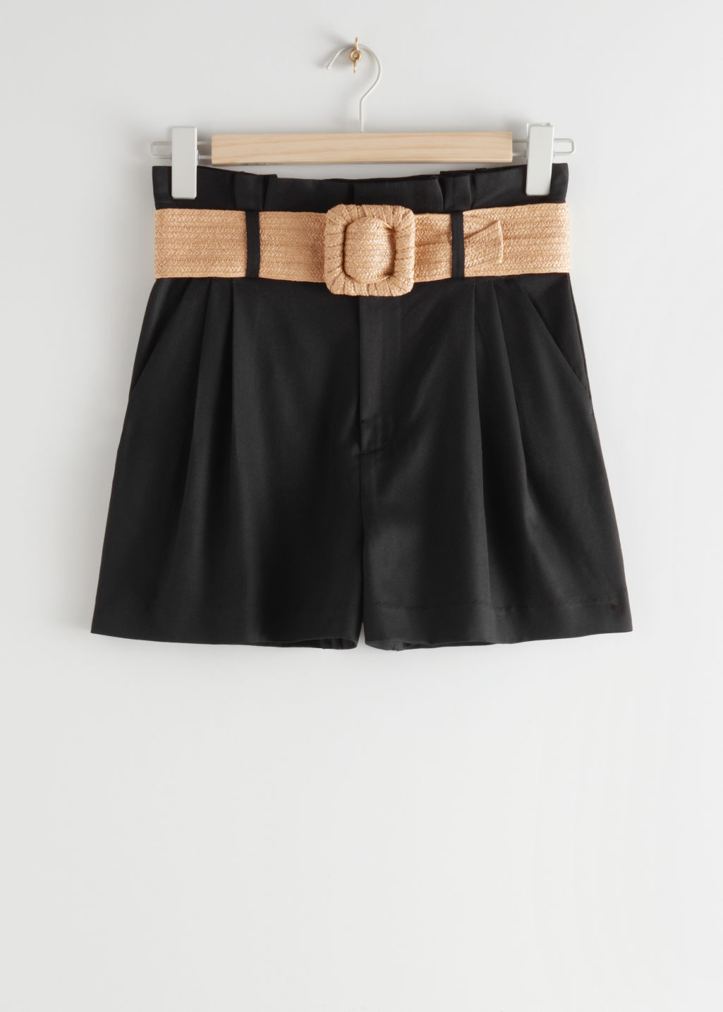 StillLife Front Image of Stories High Paperbag Waist Shorts in Black