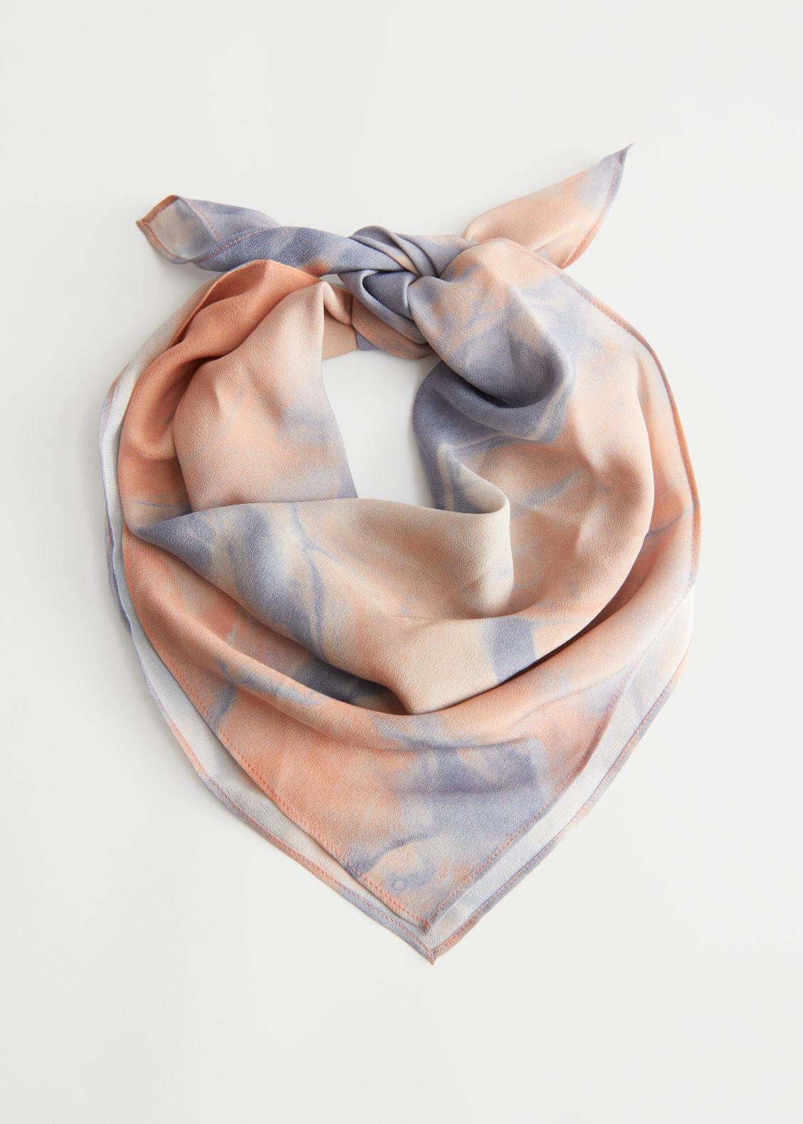 앤 아더 스토리즈 실크 스카프 & OTHER STORIES Duo Tone Printed Silk Scarf,Lilac, Pink