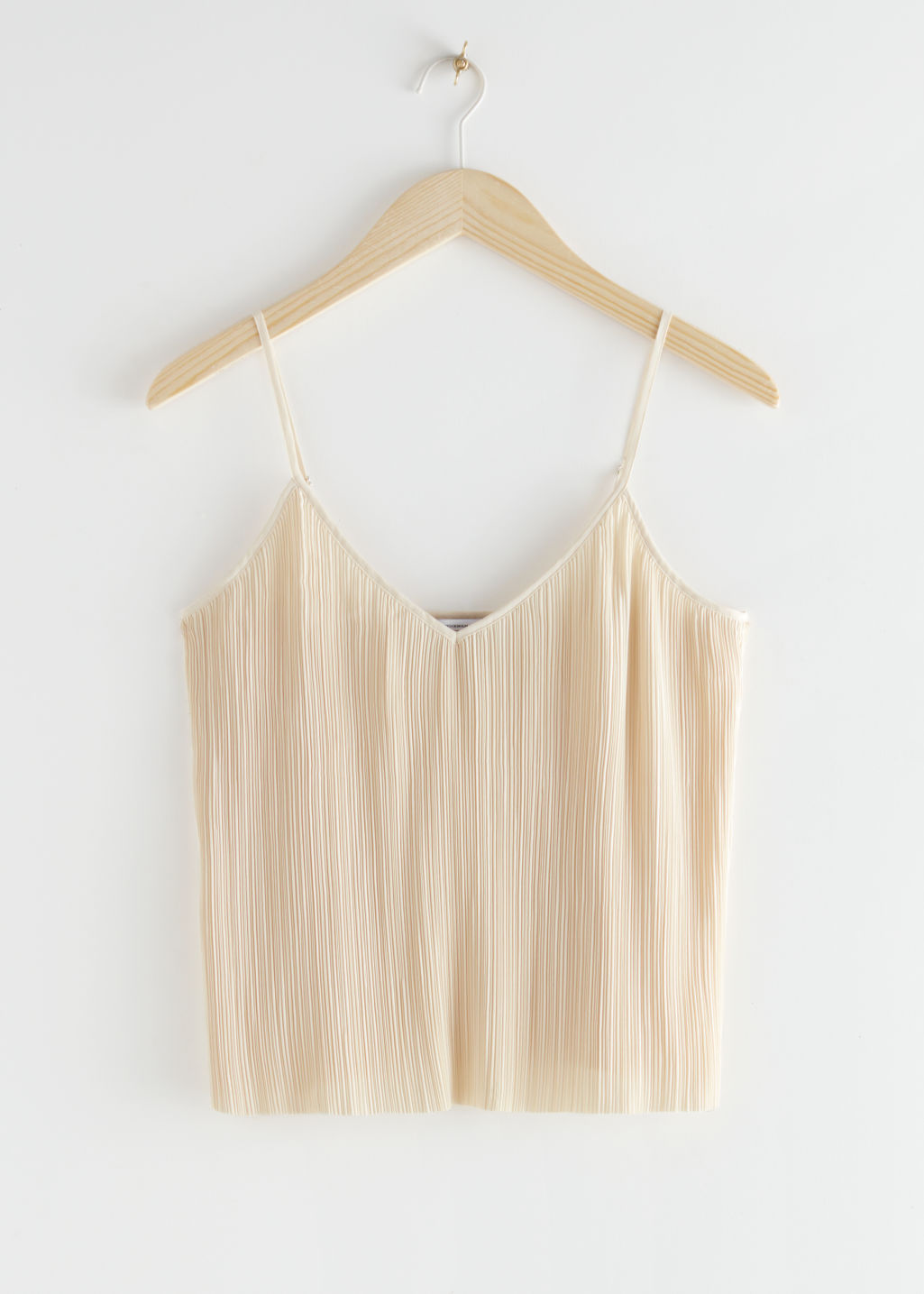 StillLife Front Image of Stories Pleated Crop Top in Beige