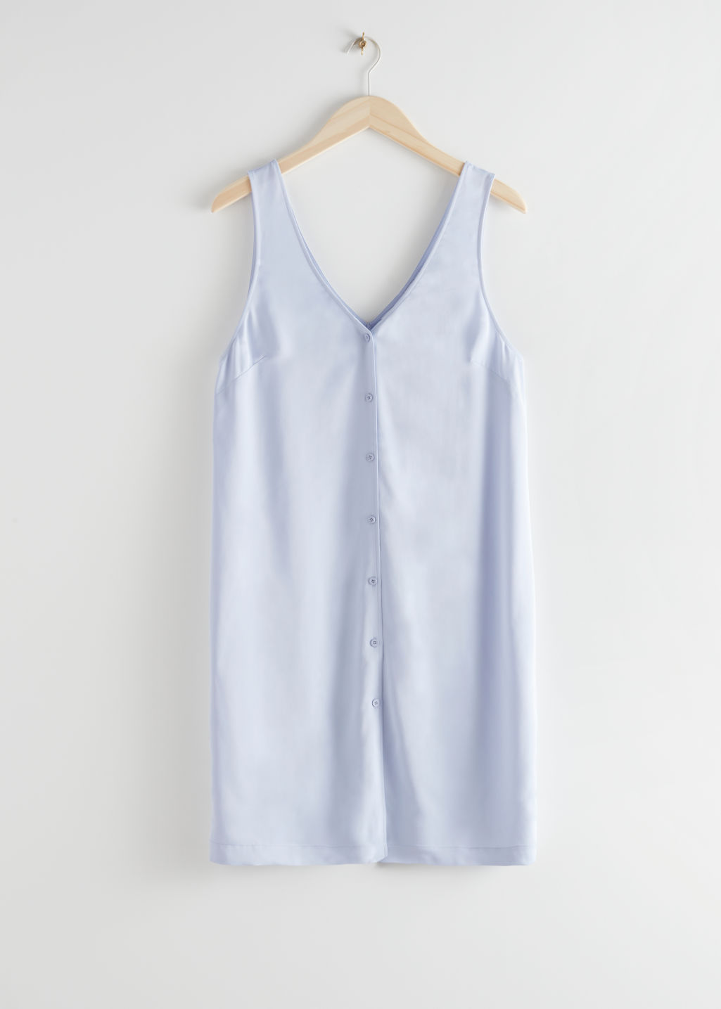 StillLife Front Image of Stories Sleeveless Button Up Mini Dress in Blue