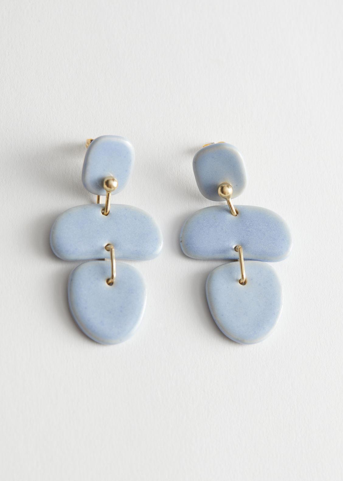 앤 아더 스토리즈 펜던트 귀걸이 & OTHER STORIES Dangling Ceramic Pendant Earrings,Light Blue